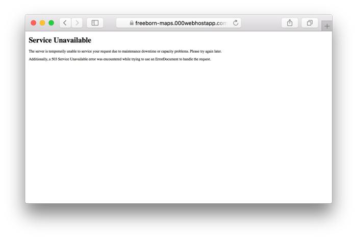 Service 503 unavailable error example on WordPress screenshot