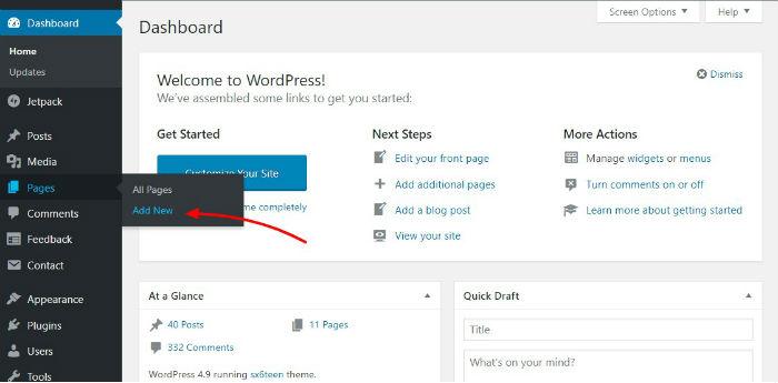 adding a new page in wordpress admin dashboard