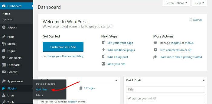 adding new wordpress plugin via the wordpress admin menu