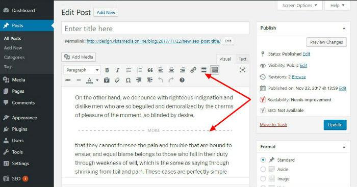 adding a read more tag in wordpress post editor