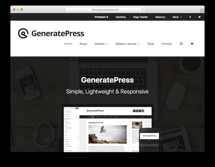 The GeneratePress theme.