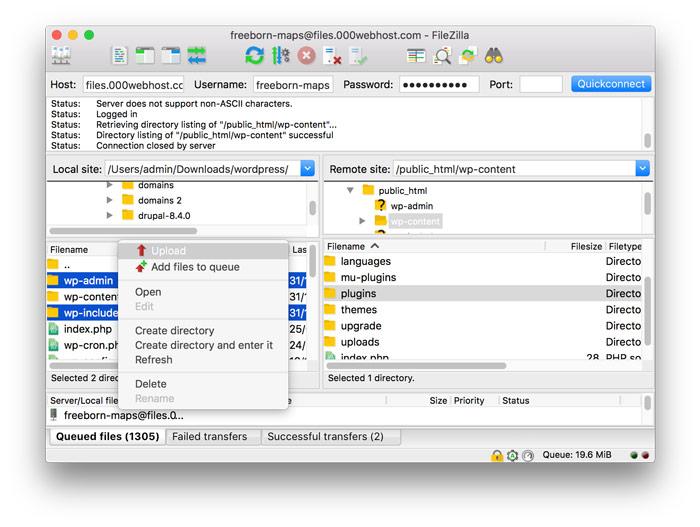 uploading wp-admin adn wp-includes via FileZilla