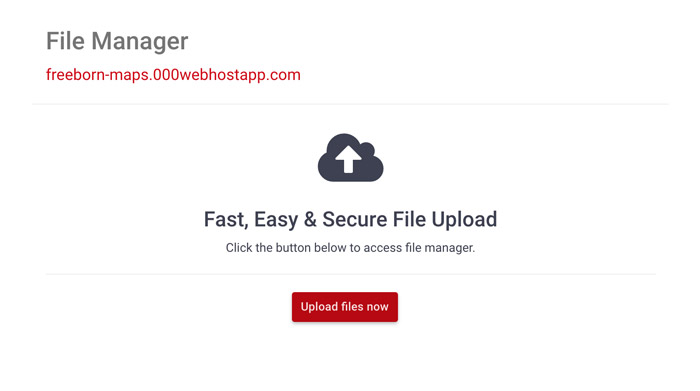 accessing the file manager in 000webhost