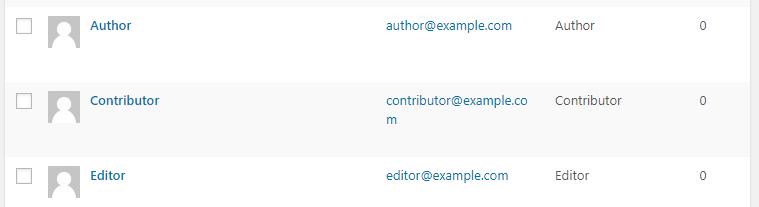 A list of WordPress user roles.