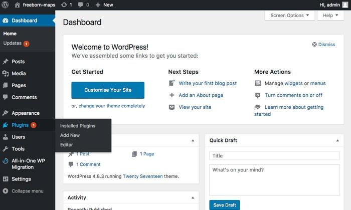 adding a new plugin via WordPress admin menu