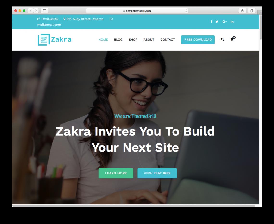 Zakra WordPress theme's demo page