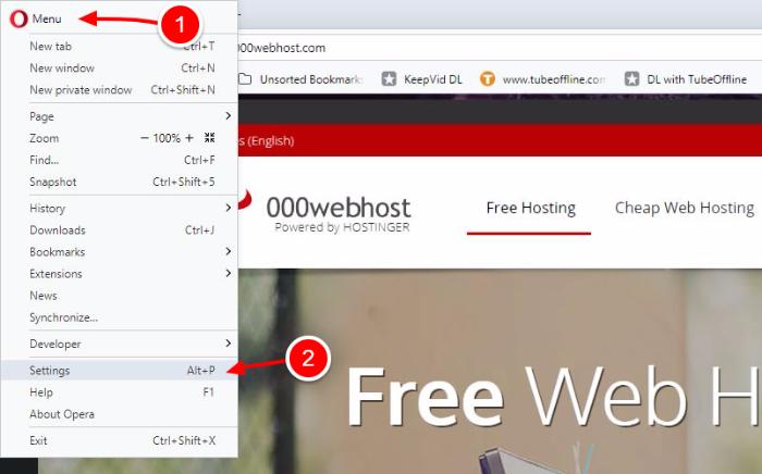 WordPress clear cache in Opera browser