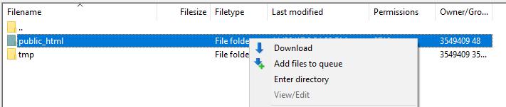 Downloading your public_html folder.