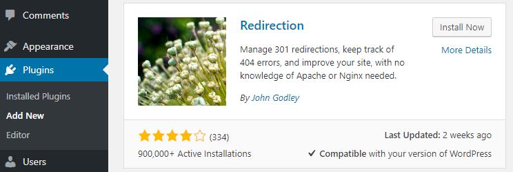 Installing the Redirection plugin.