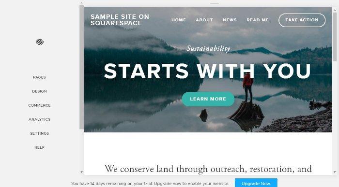 site customizer in Squarespace