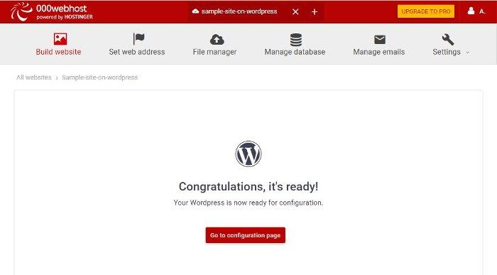 a successful WordPress installation in 000webhost - squarespace vs wordpress