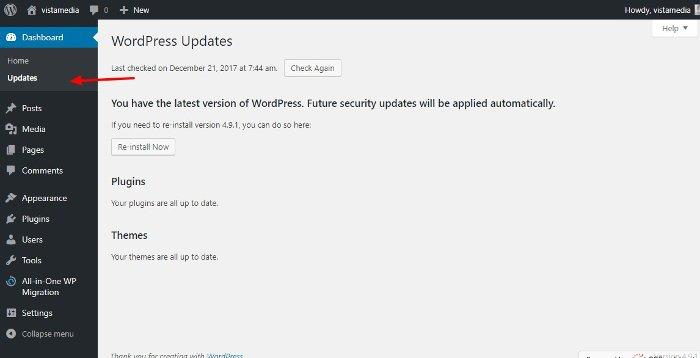 the updates screen in WordPress