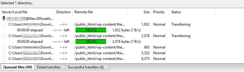 Transferring files via FileZilla.