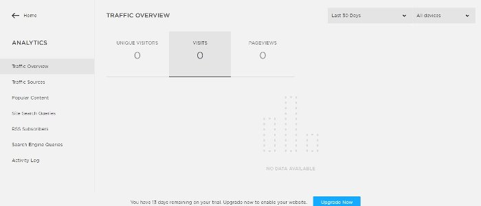 the analytics page in squarespace where you can track your traffic metrics