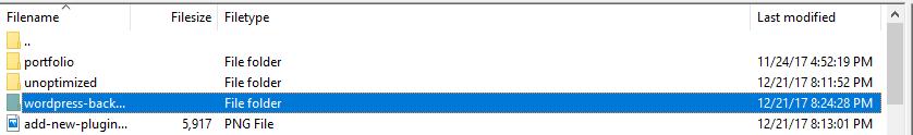 Your WordPress backup folder.