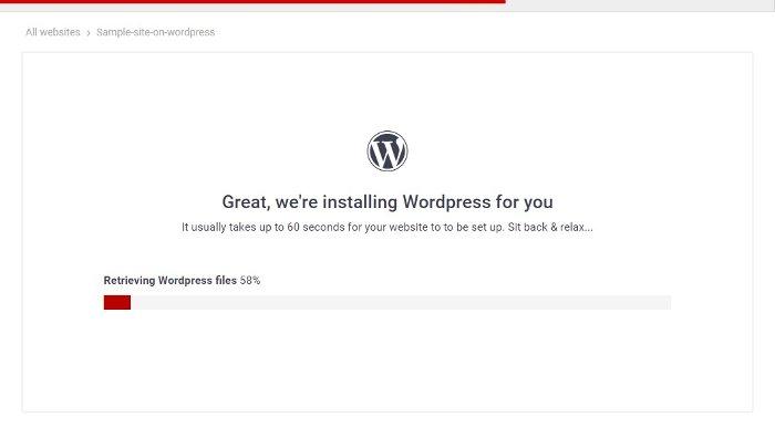 wordpress installation progress in 000webhost