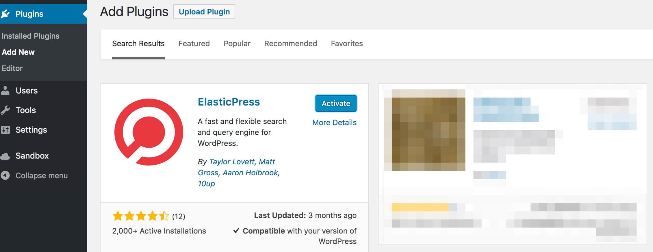 Add ElasticPress WordPress Search Plugin