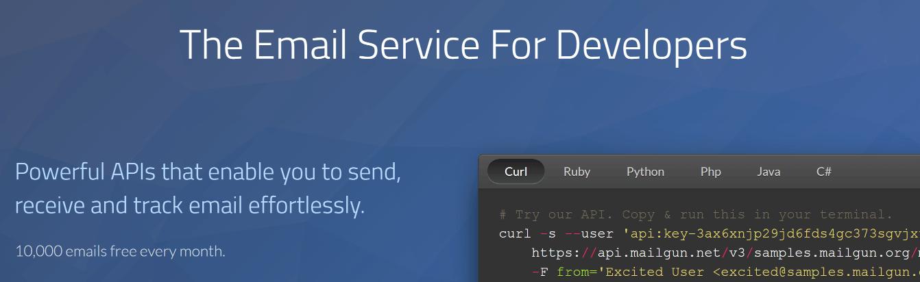 The MailGun homepage.