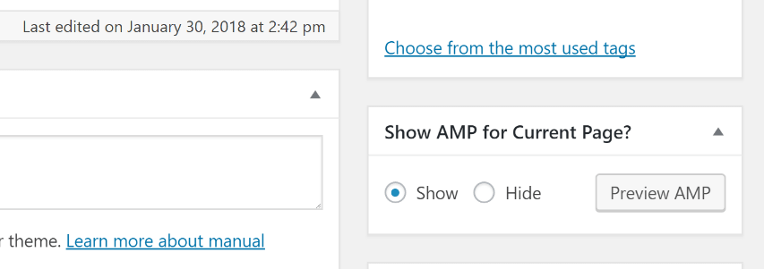 Enabling AMP for specific pages.