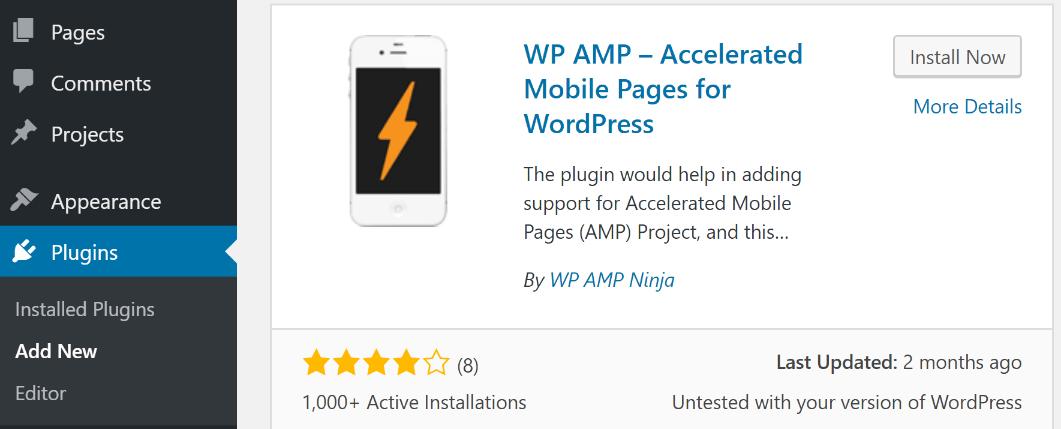Installing the WP AMP plugin.