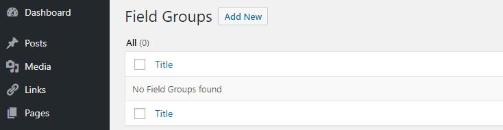 Adding a new custom field group.