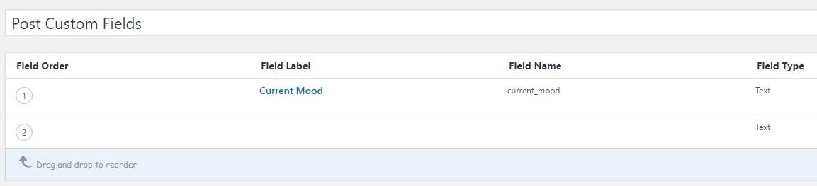 The custom fields tab.