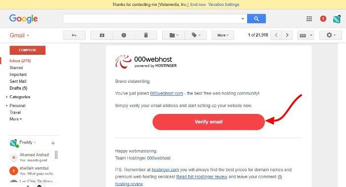 000webhost email verification