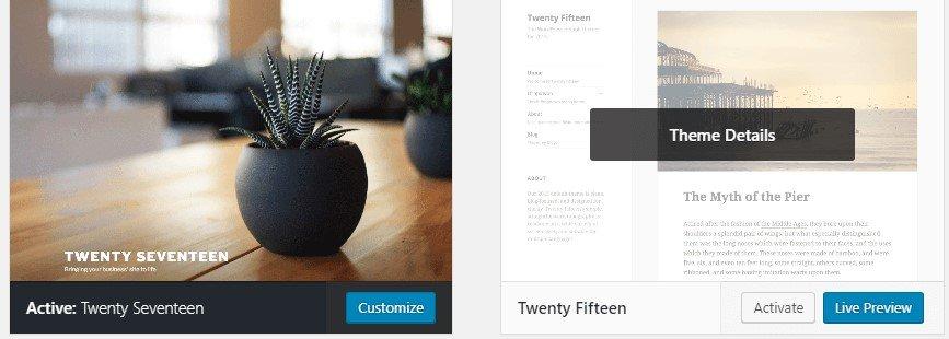 Activating a WordPress theme.