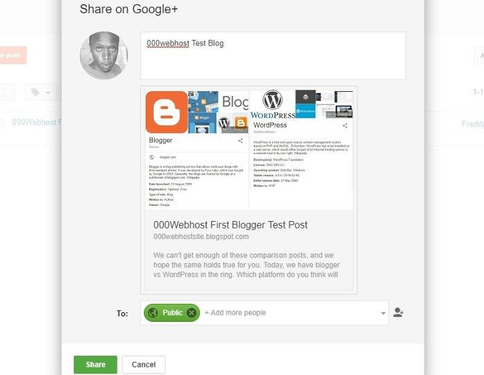blogger google+ sharing popup