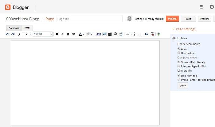 blogger page creator/editor