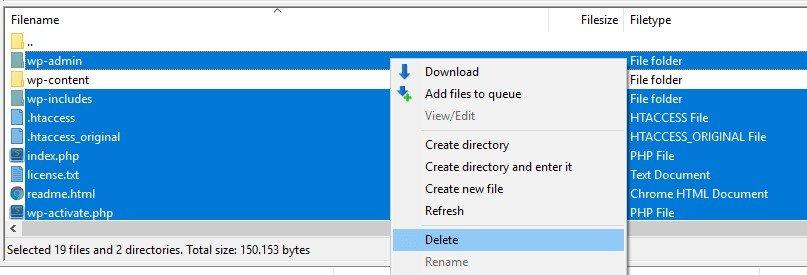 Deleting your WordPress files via FTP.
