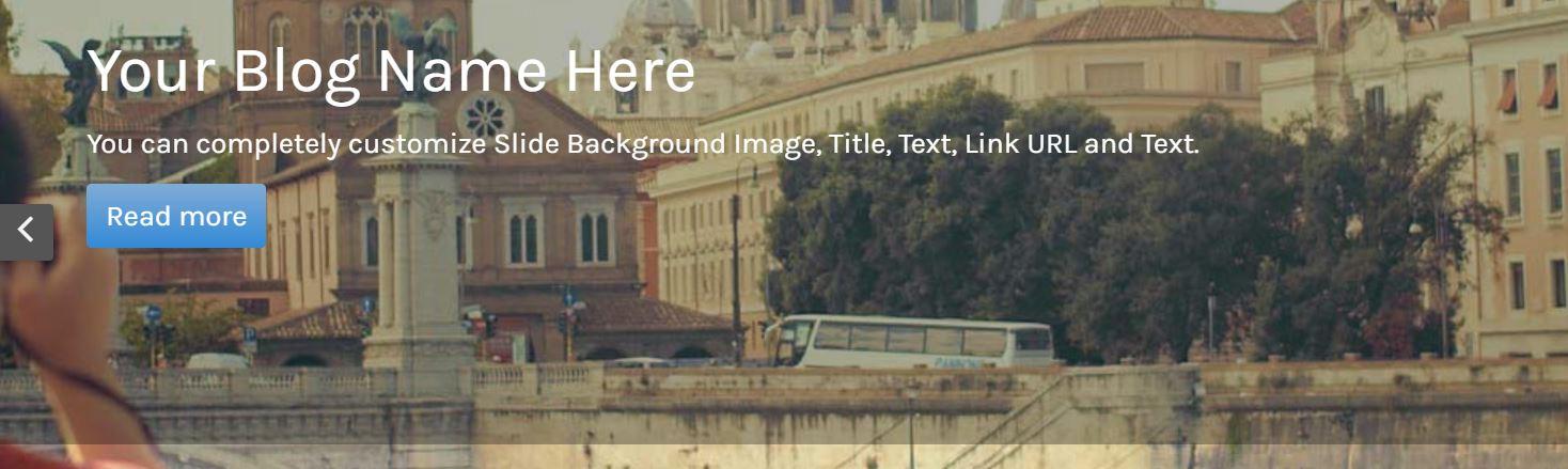 A WordPress travel blog's title.