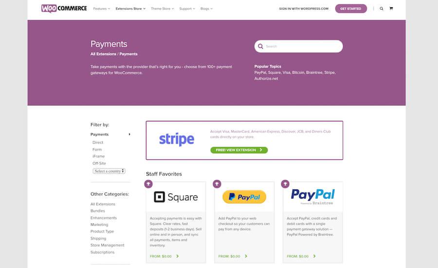 WooCommerce payment gateways.