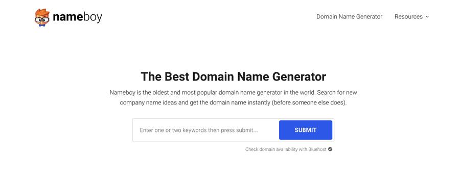 Screenshot of Name Boy domain name generator 2018