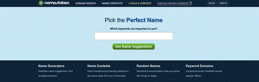 Screenshot of Name Station domain name generator 2018