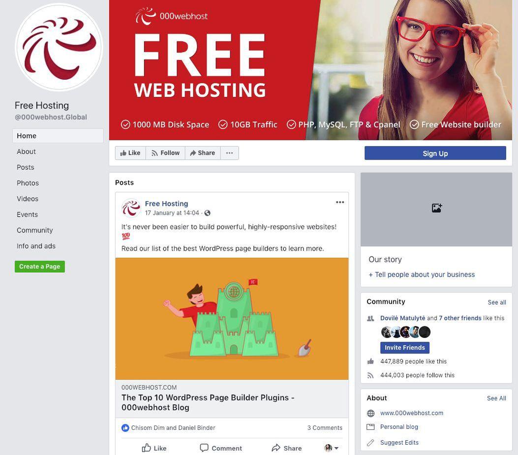 Screenshot of Free Hosting Facebook Page