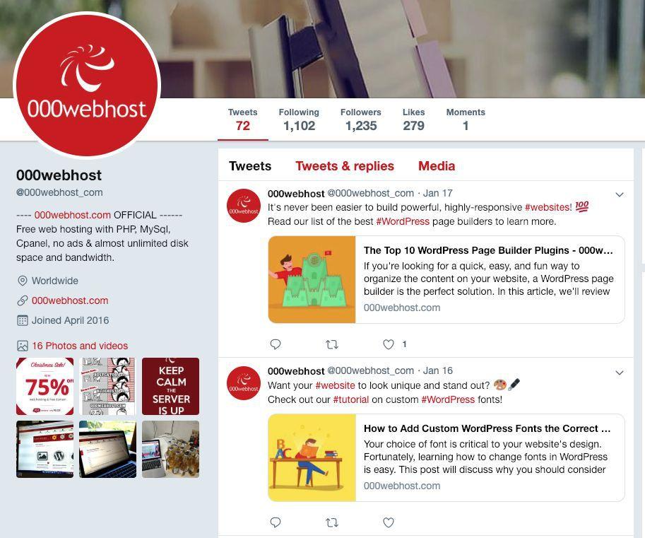 Screenshot of 000webshost.com twitter home page