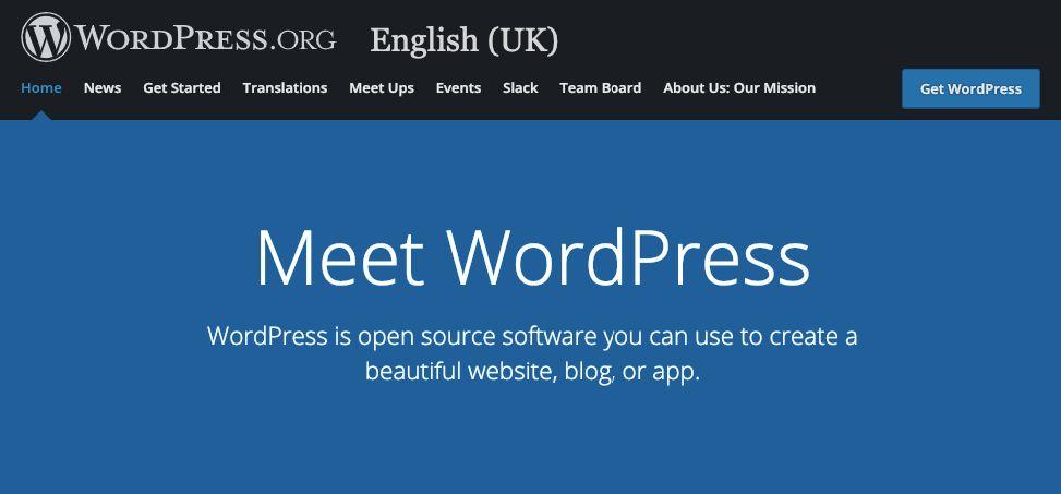 WordPress home page