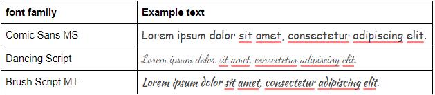 cursive html font example