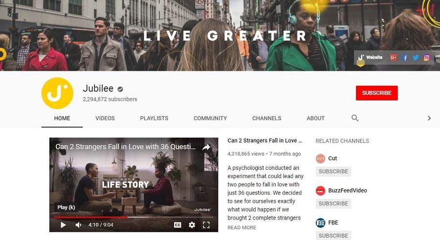 jubilee example youtube channel