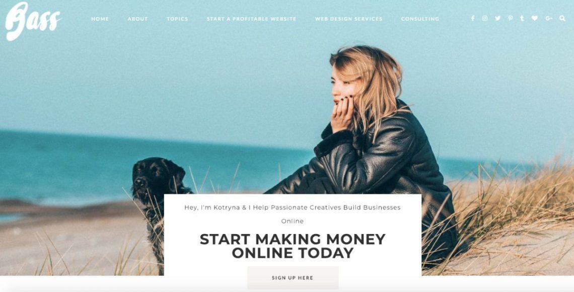 Screenshot of Kotryna Bass lifestyle blog