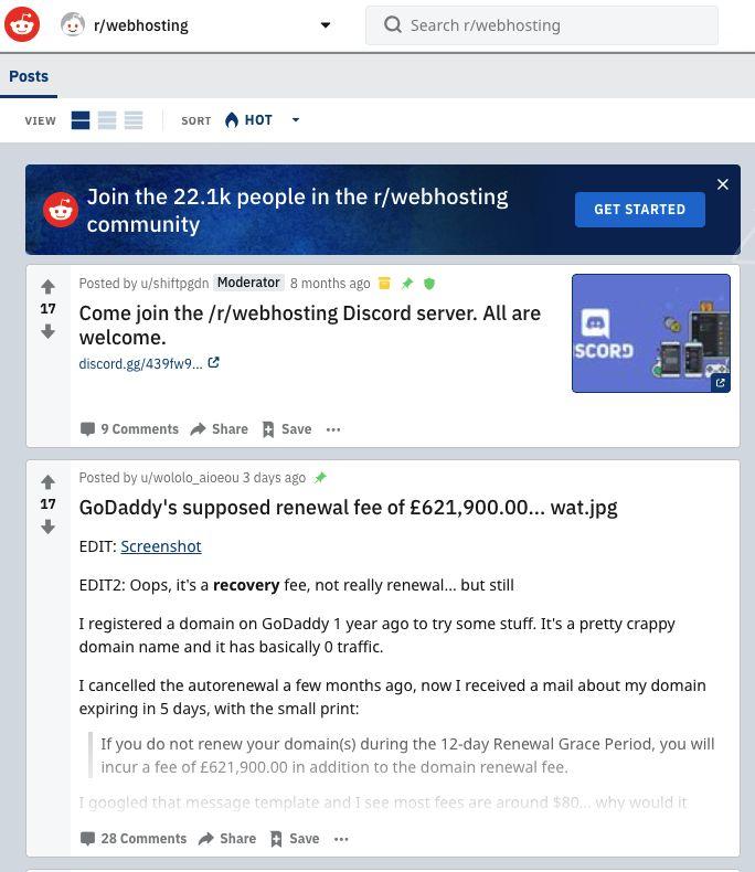 Screenshot of Reddit page