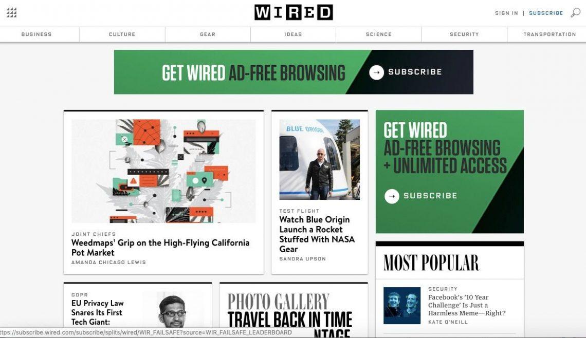 Screenshot of Wired tech blog