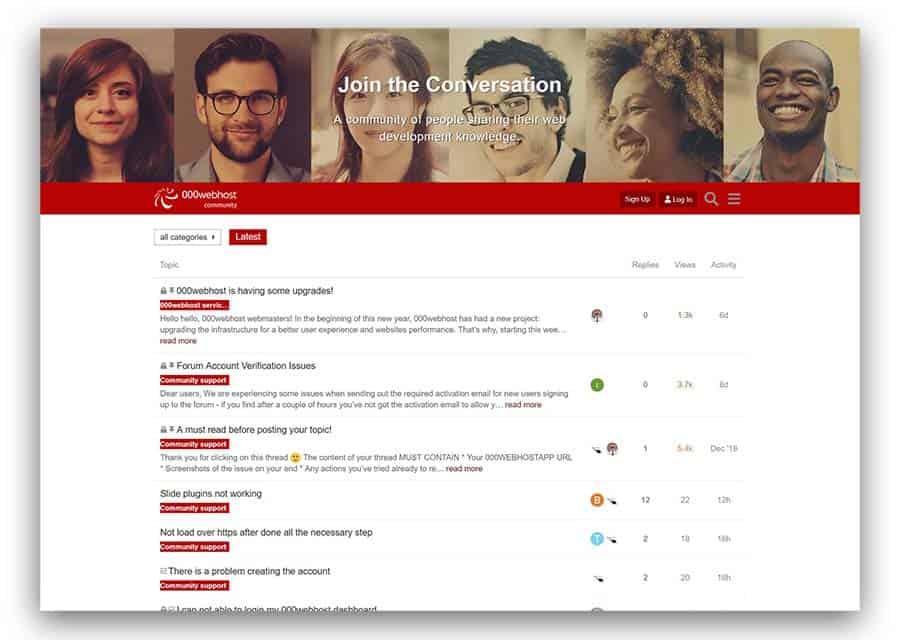 000webhost forum as an example of website ideas