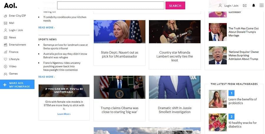 aol news landing page