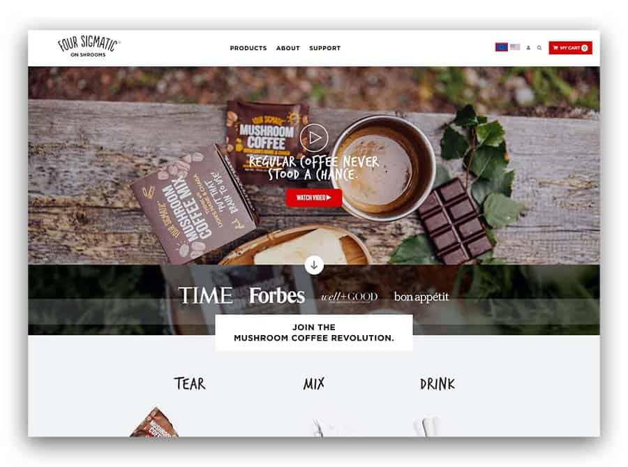 Four Sigmatic as an example of B2C ecommerce website ideas