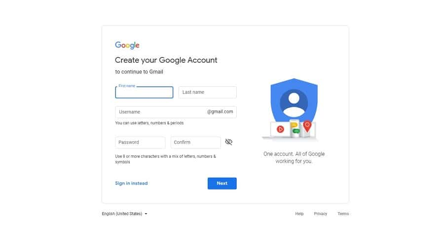 gmail signup interface for free email