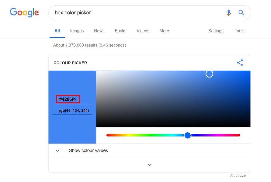 Google's hex color picker