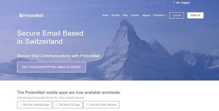 protonmail main page