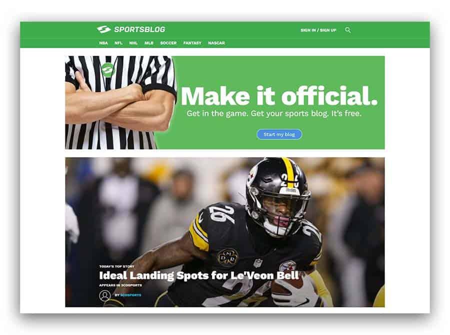 SportsBlog.com as an example of sports blog ideas